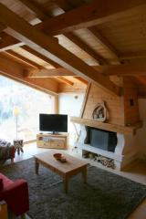 Chalet Robri - The fireplace in the lounge