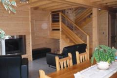 Chalet Les  Eaux Tortes - The living space and stairs to top floor